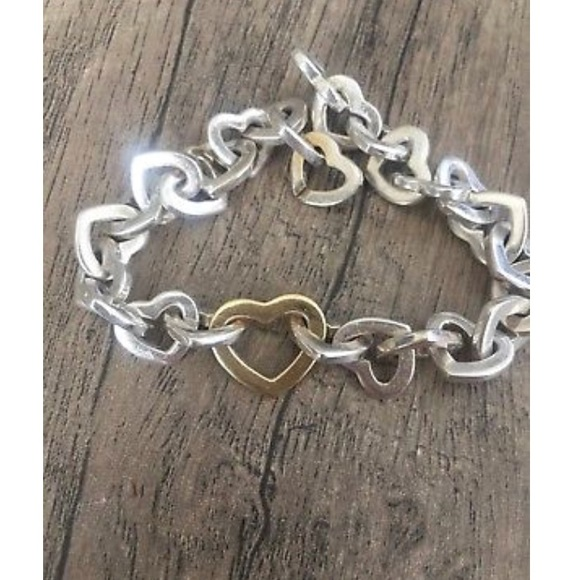 Tiffany & Co  Gold and Silver Heart Link Bracelet